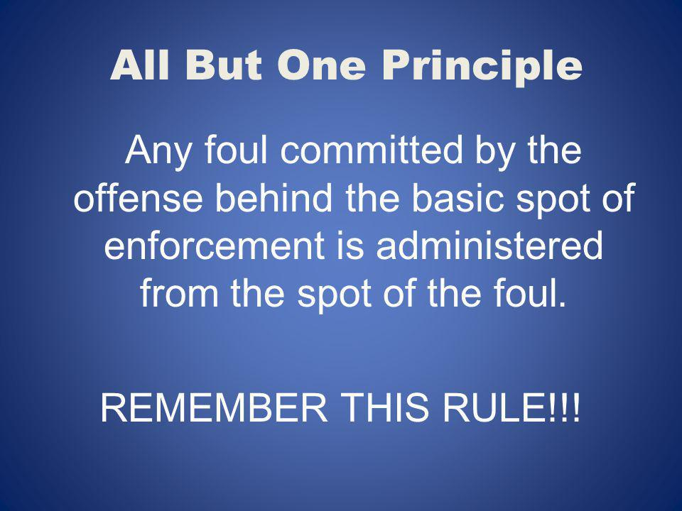 All But One Principle Any foul committed by the offense behind the basic spot of enforcement is administered from the spot of the foul.
