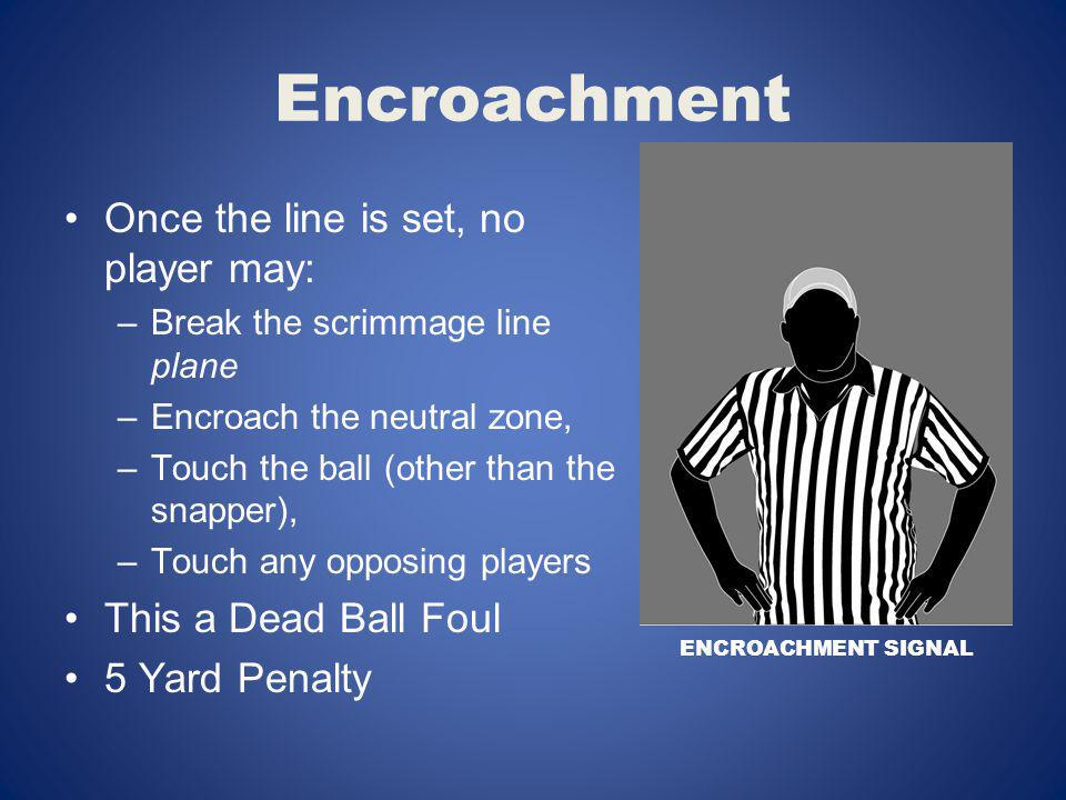 Encroachment Once the line is set, no player may: