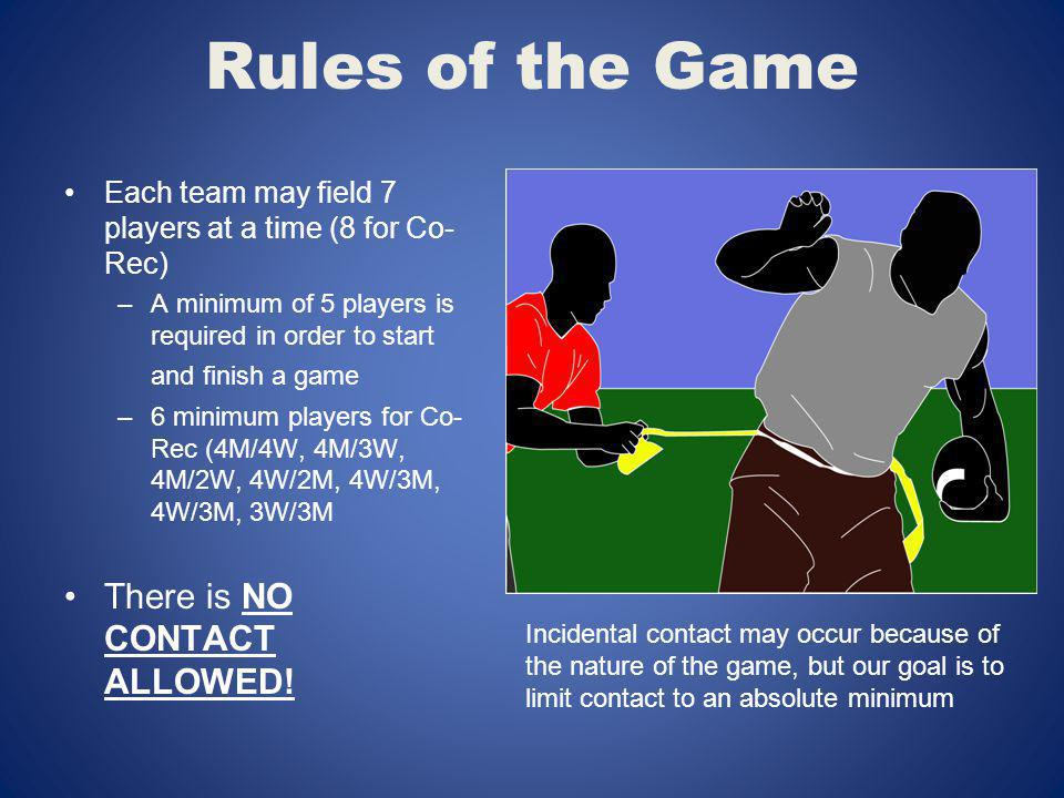 Rules of the Game There is NO CONTACT ALLOWED!