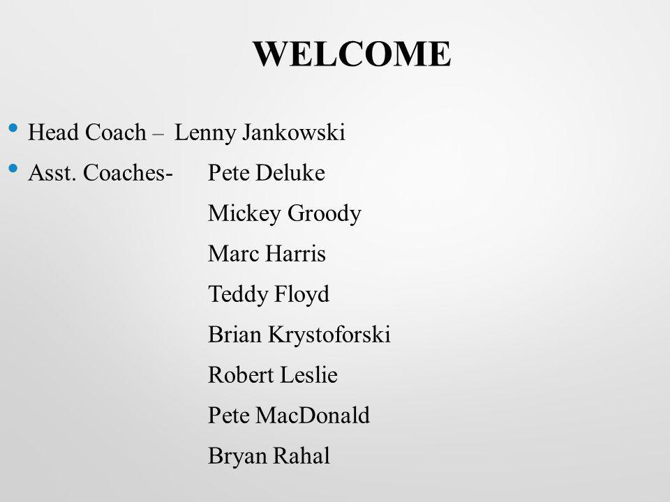 WELCOME Head Coach – Lenny Jankowski Asst. Coaches- Pete Deluke