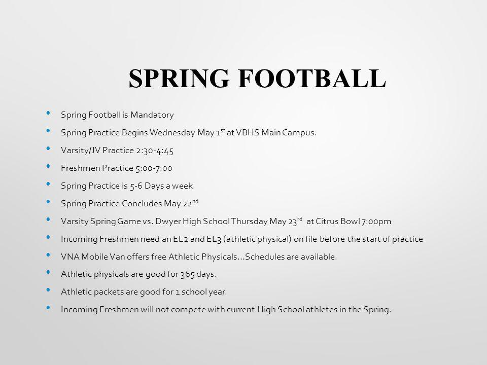 SPRING FOOTBALL Spring Football is Mandatory