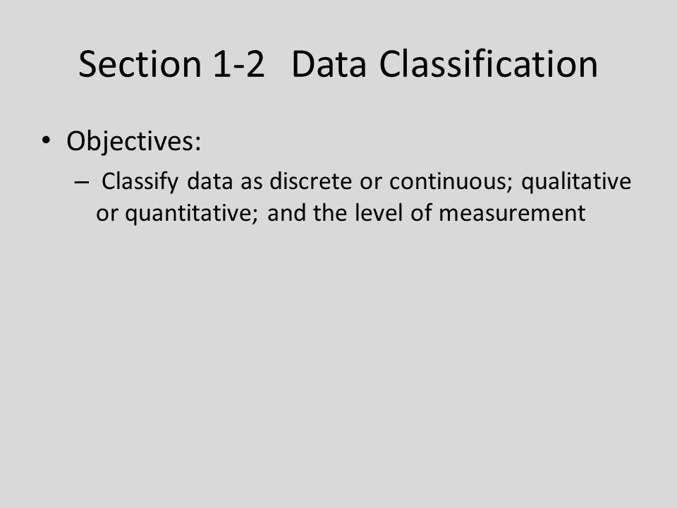 Section 1-2 Data Classification