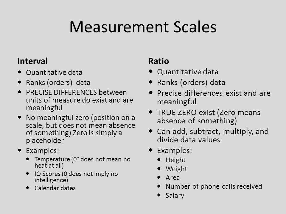 Measurement Scales Interval Ratio Quantitative data