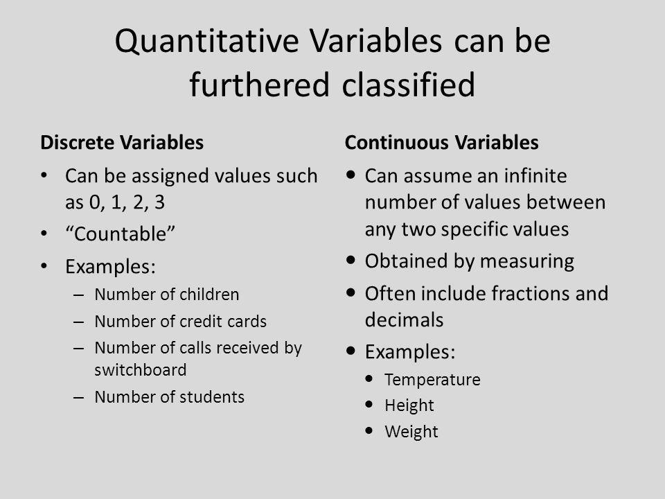 Quantitative Variables can be furthered classified