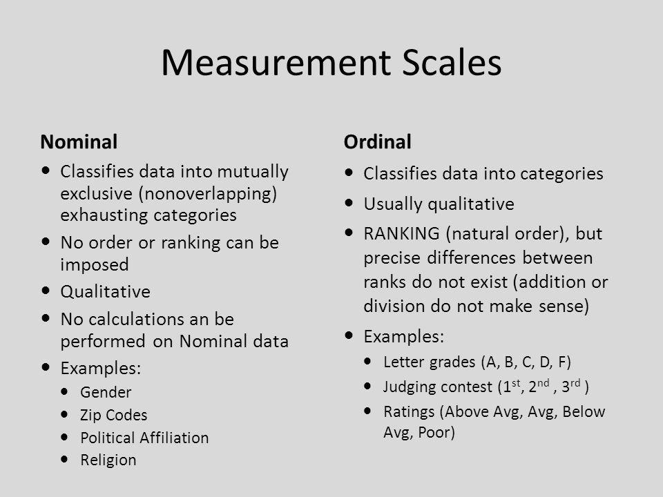Measurement Scales Nominal Ordinal