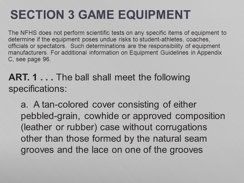 SECTION 3 GAME EQUIPMENT