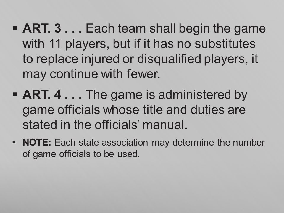 ART. 3 . . . Each team shall begin the game with 11 players, but if it has no substitutes to replace injured or disqualified players, it may continue with fewer.