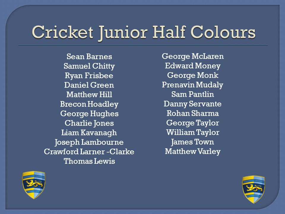 Cricket Junior Half Colours