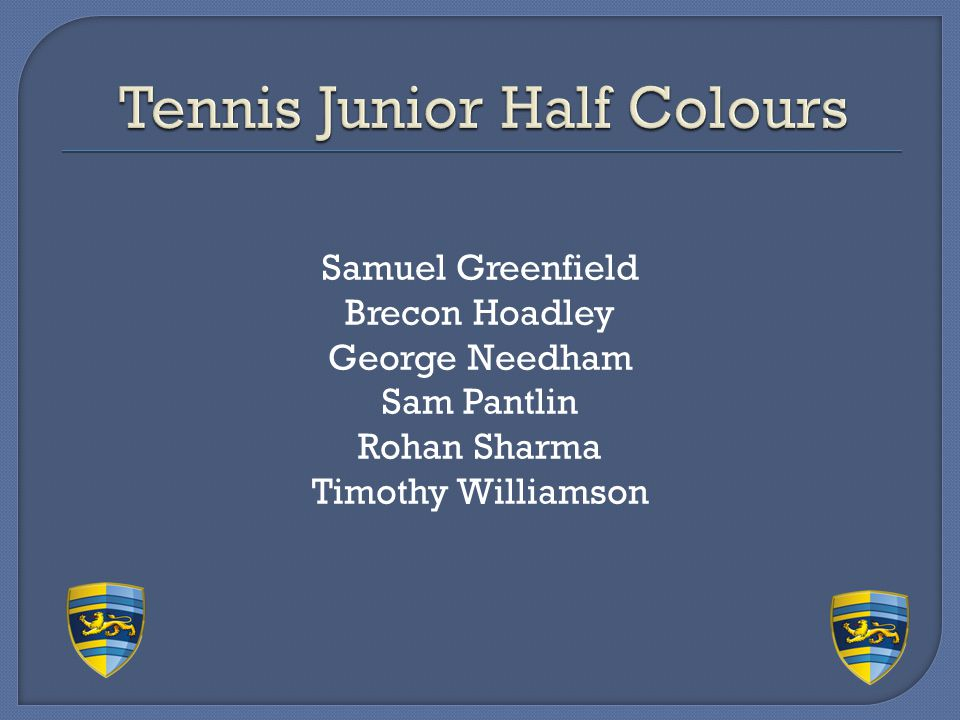 Tennis Junior Half Colours