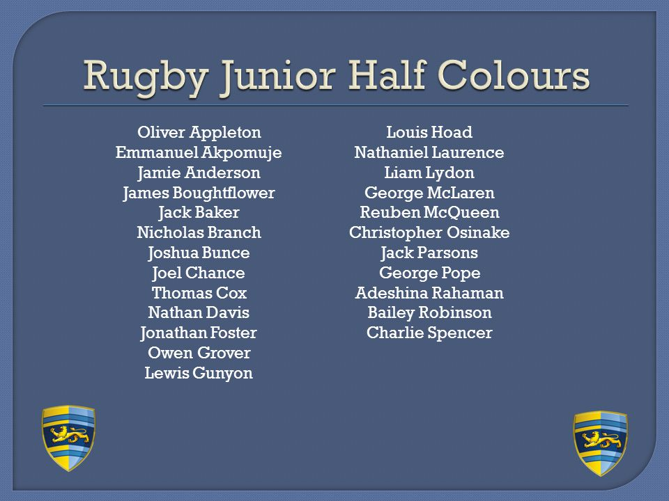 Rugby Junior Half Colours