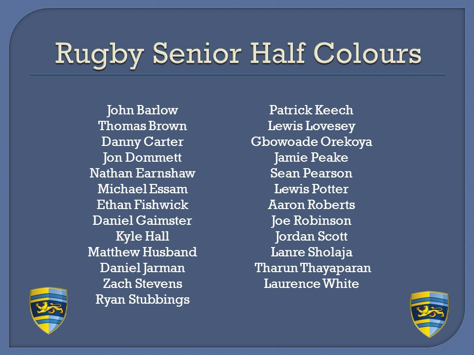 Rugby Senior Half Colours
