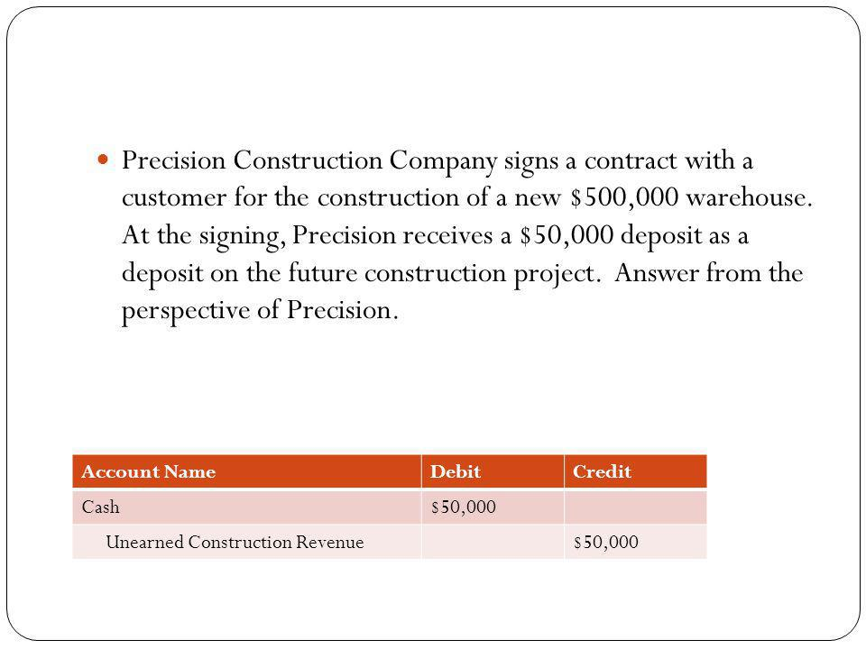 Precision Construction Company signs a contract with a customer for the construction of a new $500,000 warehouse. At the signing, Precision receives a $50,000 deposit as a deposit on the future construction project. Answer from the perspective of Precision.