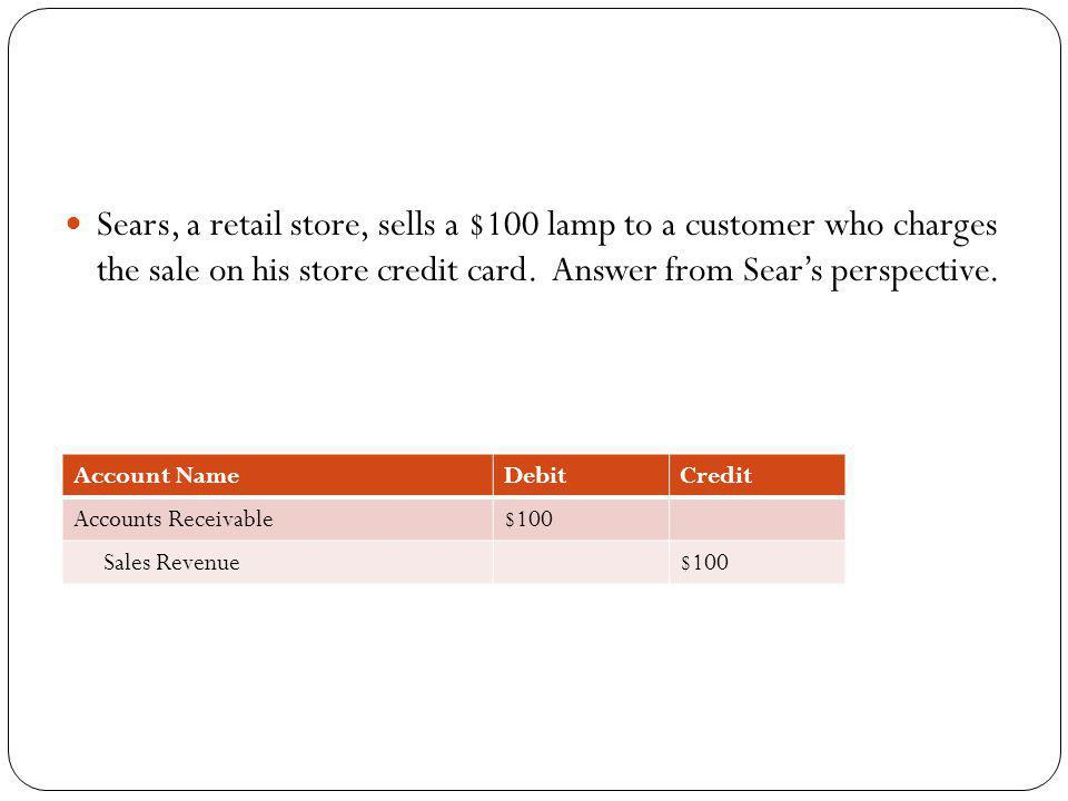 Sears, a retail store, sells a $100 lamp to a customer who charges the sale on his store credit card. Answer from Sear's perspective.