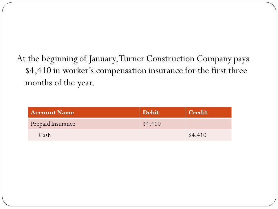 At the beginning of January, Turner Construction Company pays $4,410 in worker's compensation insurance for the first three months of the year.