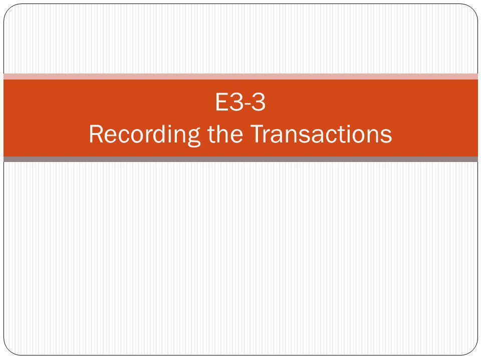 E3-3 Recording the Transactions