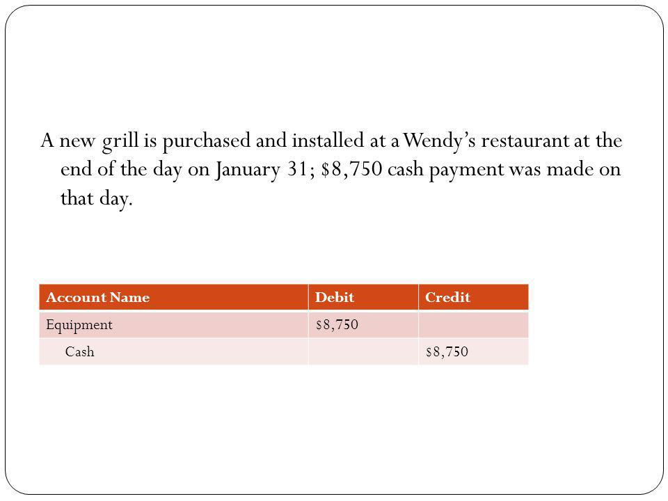 A new grill is purchased and installed at a Wendy's restaurant at the end of the day on January 31; $8,750 cash payment was made on that day.