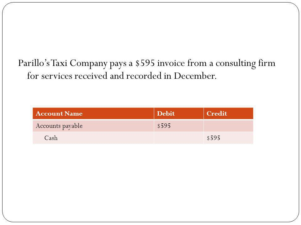Parillo's Taxi Company pays a $595 invoice from a consulting firm for services received and recorded in December.