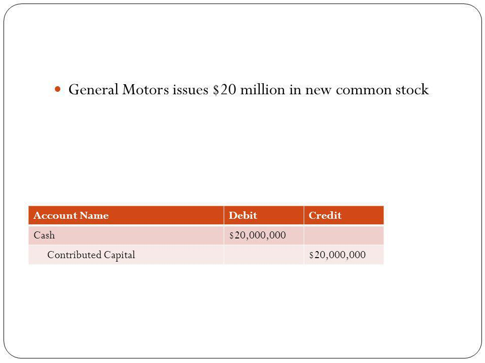 General Motors issues $20 million in new common stock