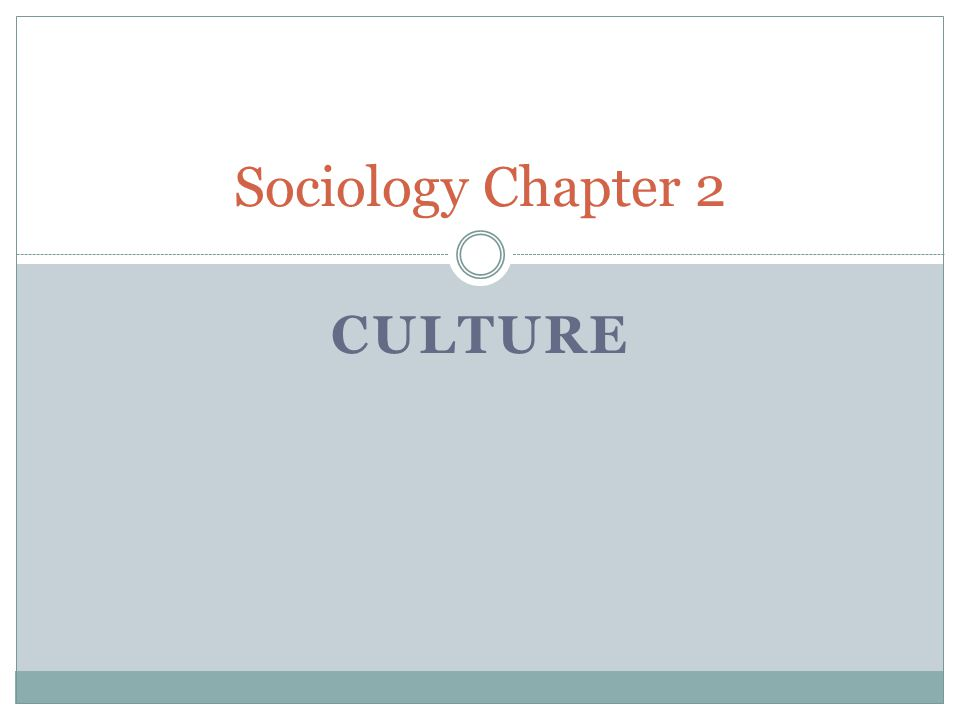 Sociology Chapter 2 Culture