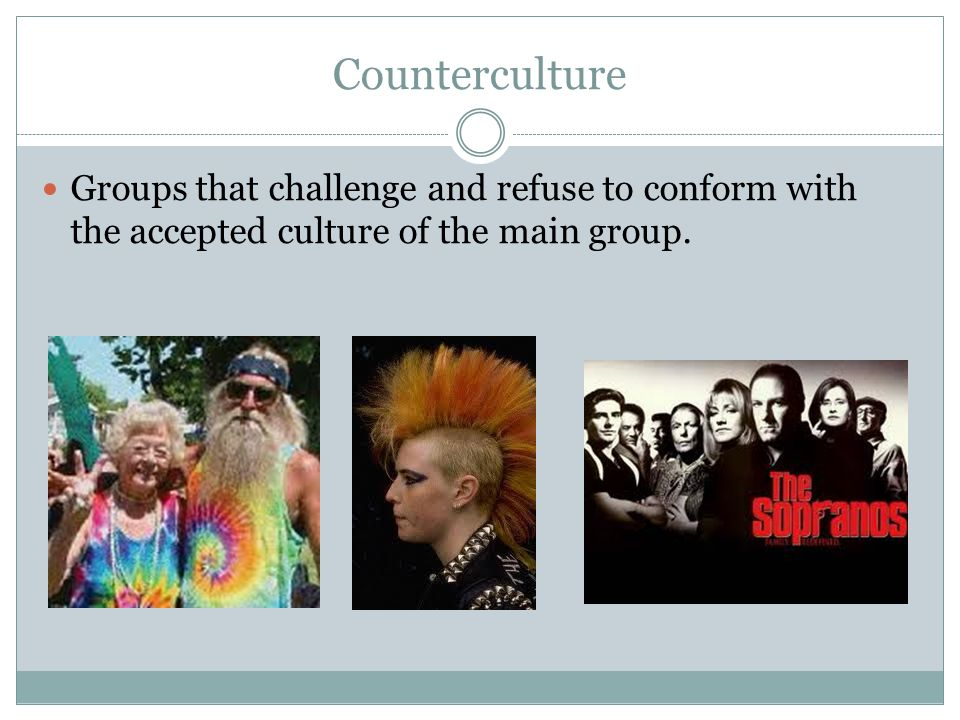 Counterculture Groups that challenge and refuse to conform with the accepted culture of the main group.