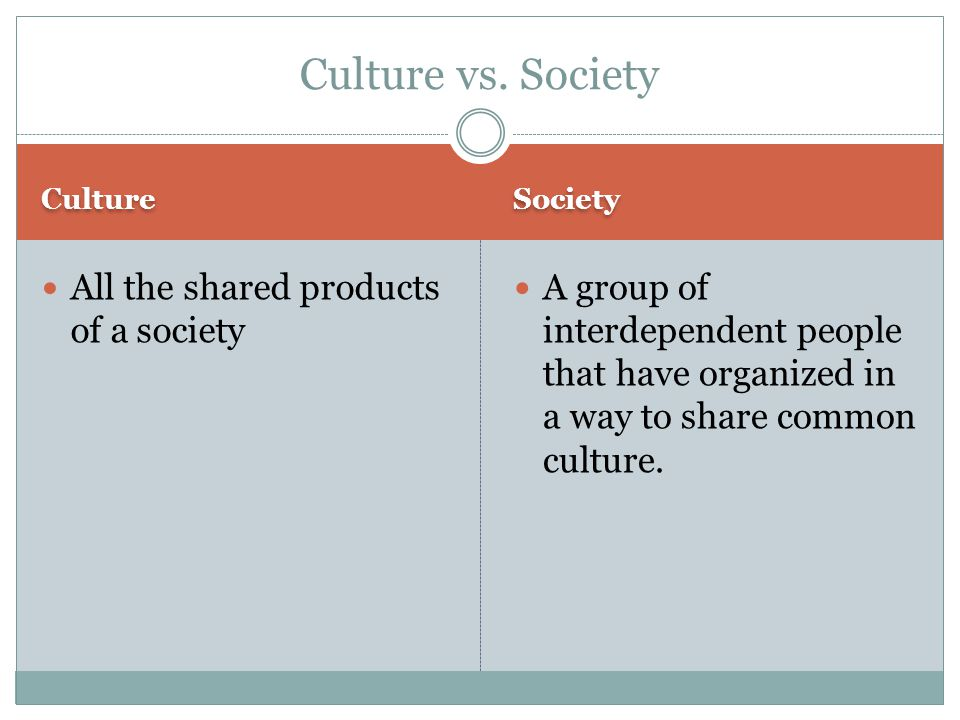 Culture vs. Society All the shared products of a society