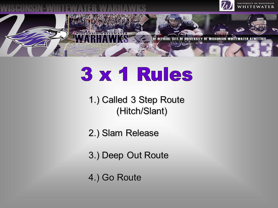 3 x 1 Rules 1.) Called 3 Step Route (Hitch/Slant) 2.) Slam Release