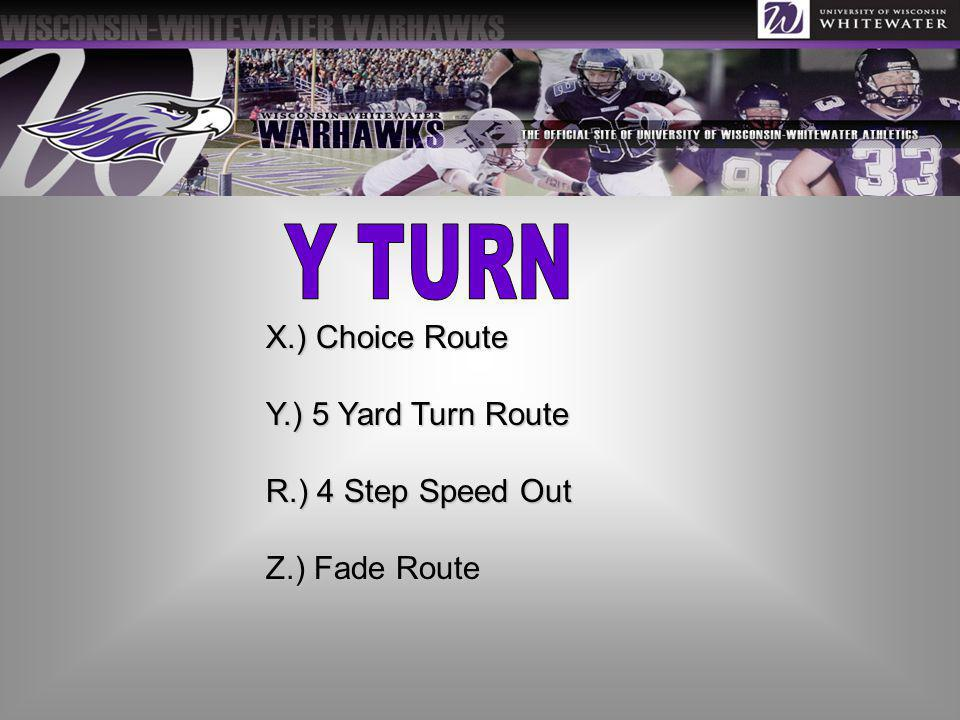 X.) Choice Route Y.) 5 Yard Turn Route R.) 4 Step Speed Out