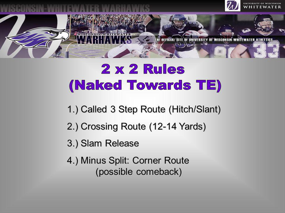 2 x 2 Rules (Naked Towards TE) 1.) Called 3 Step Route (Hitch/Slant)