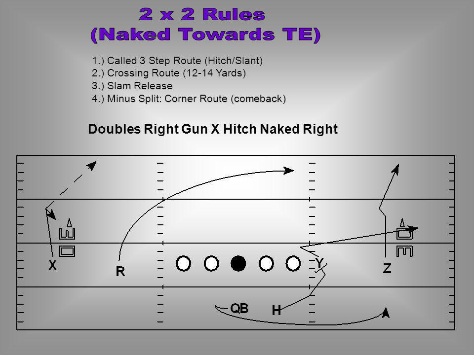 2 x 2 Rules (Naked Towards TE) Doubles Right Gun X Hitch Naked Right