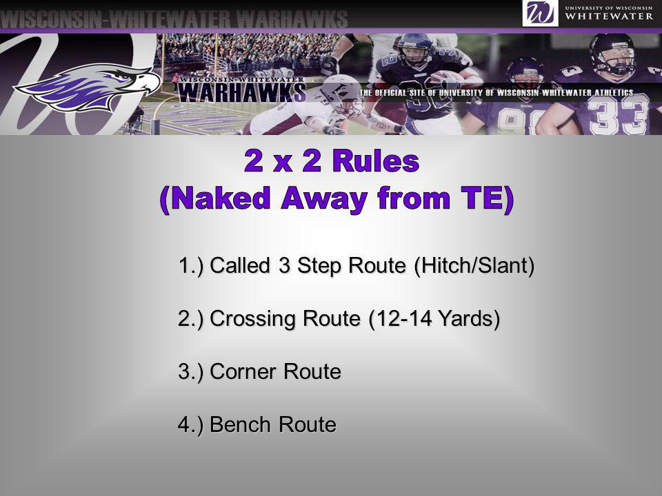 2 x 2 Rules (Naked Away from TE) 1.) Called 3 Step Route (Hitch/Slant)