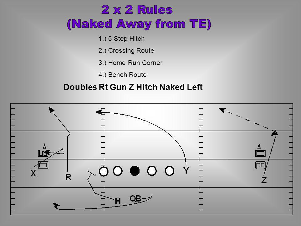 2 x 2 Rules (Naked Away from TE) Doubles Rt Gun Z Hitch Naked Left
