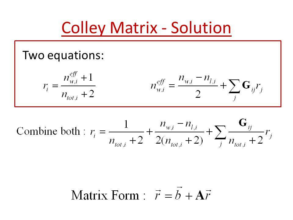 Colley Matrix - Solution