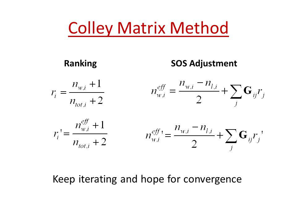 Colley Matrix Method Keep iterating and hope for convergence Ranking