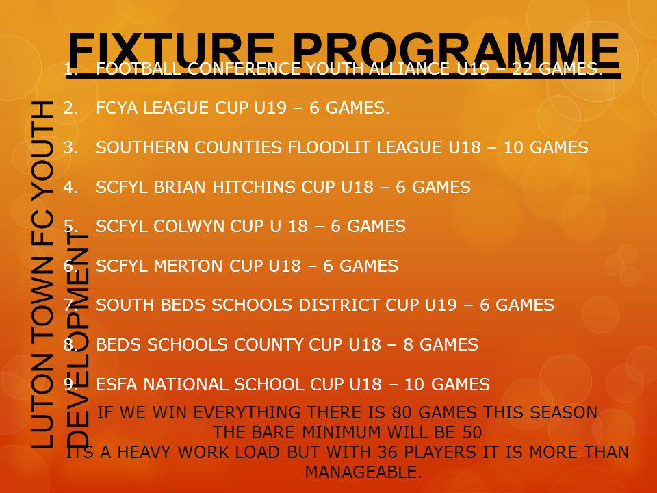 FIXTURE PROGRAMME LUTON TOWN FC YOUTH DEVELOPMENT