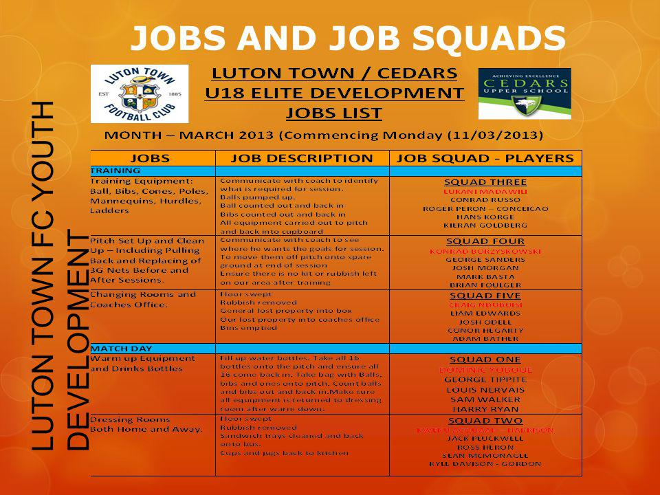 JOBS AND JOB SQUADS LUTON TOWN FC YOUTH DEVELOPMENT