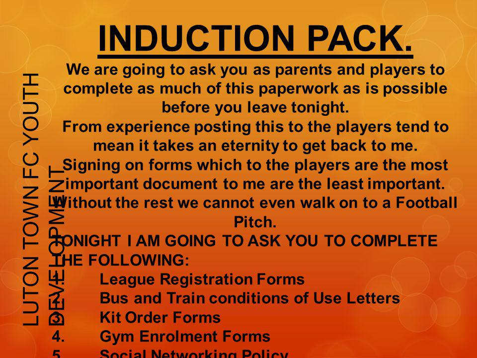 INDUCTION PACK. LUTON TOWN FC YOUTH DEVELOPMENT
