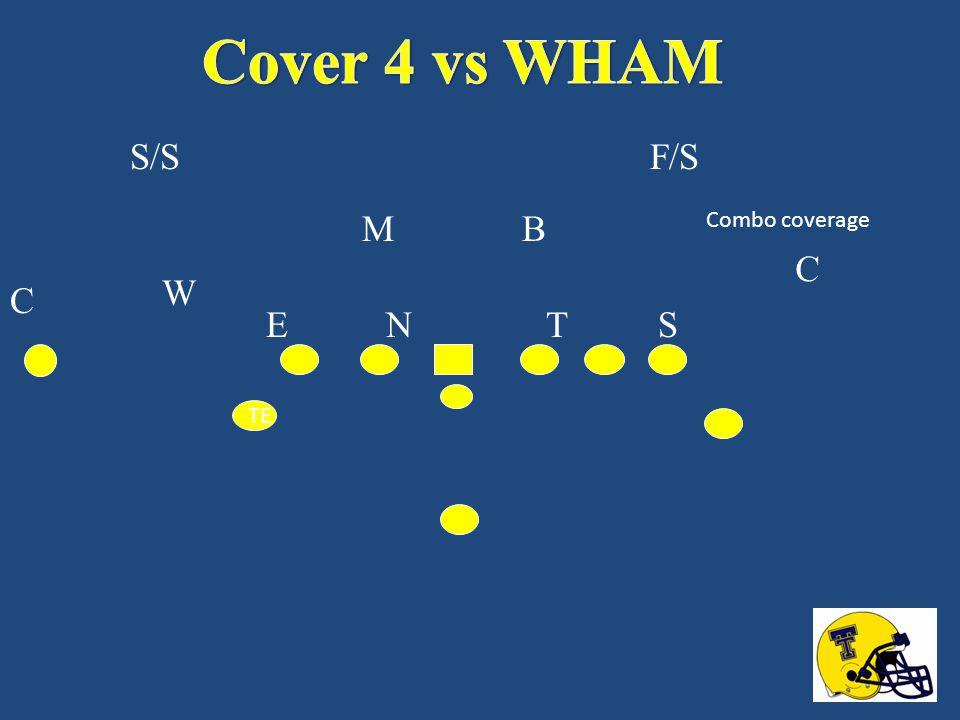 Cover 4 vs WHAM S/S F/S M B Combo coverage C W C E N T S TE