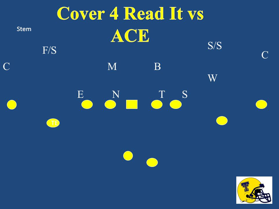 Cover 4 Read It vs ACE Stem S/S F/S C C M B W E N T S TE