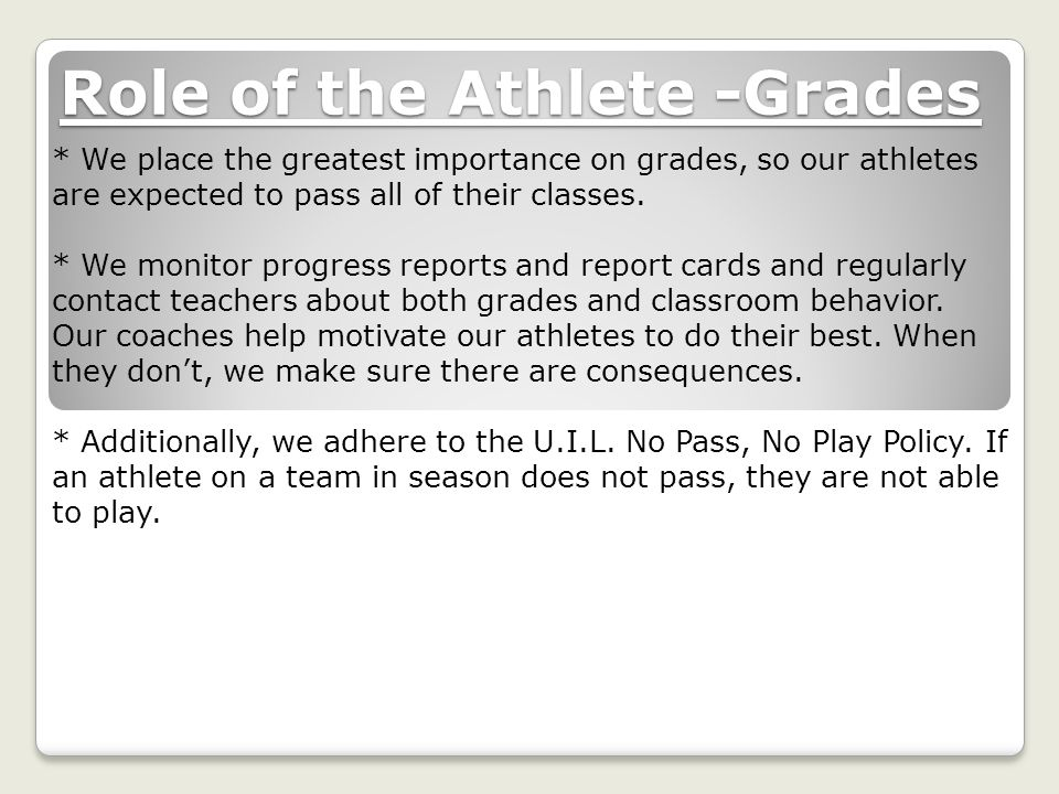 Role of the Athlete -Grades