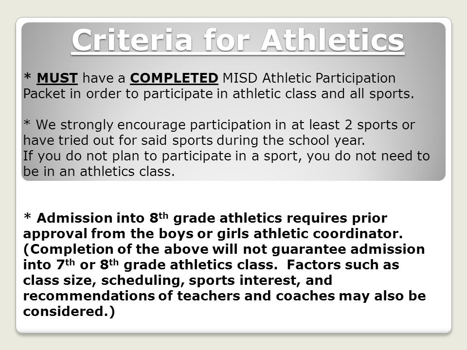 Criteria for Athletics