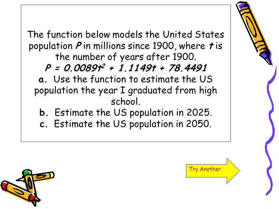 The function below models the United States population P in millions since 1900, where t is the number of years after 1900. P = 0.0089t2 + 1.1149t + 78.4491 a. Use the function to estimate the US population the year I graduated from high school. b. Estimate the US population in 2025. c. Estimate the US population in 2050.