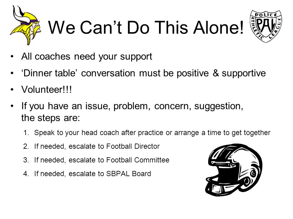 We Can't Do This Alone! All coaches need your support
