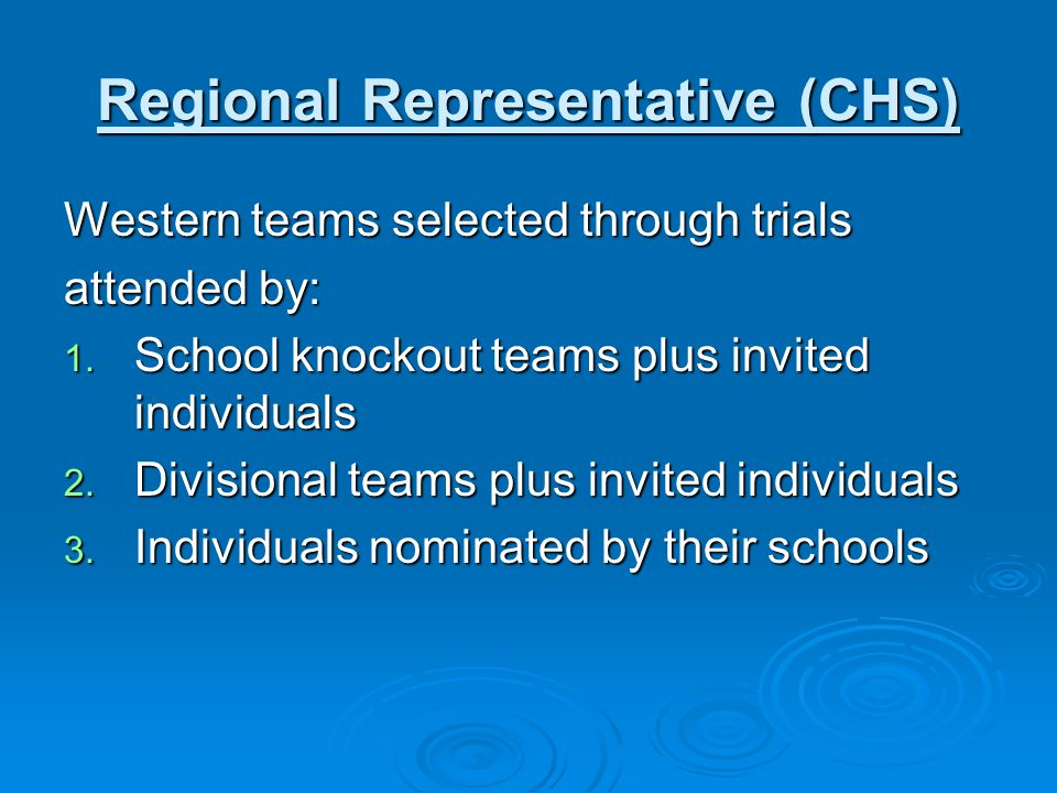 Regional Representative (CHS)