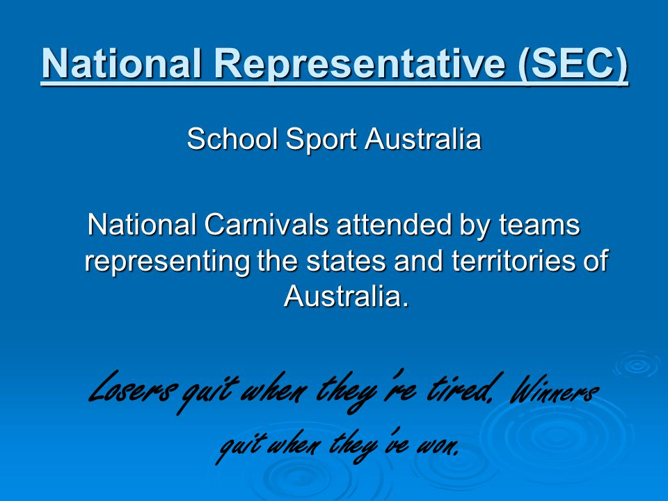 National Representative (SEC)