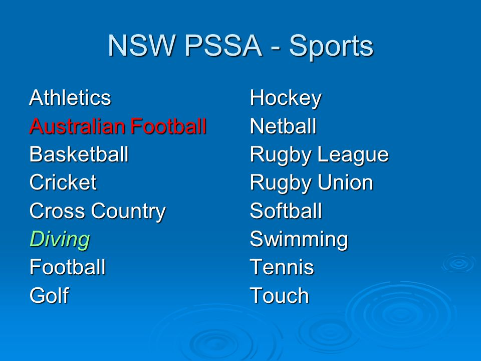 NSW PSSA - Sports Athletics Australian Football Basketball Cricket