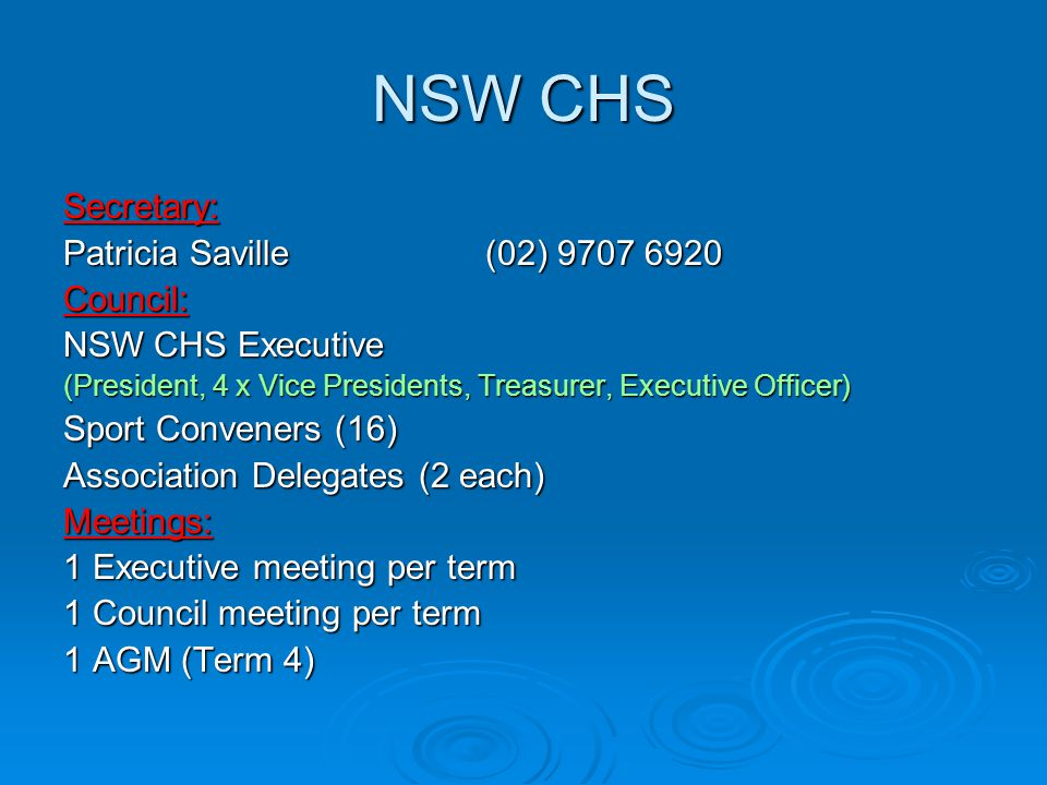 NSW CHS Secretary: Patricia Saville (02) 9707 6920 Council: