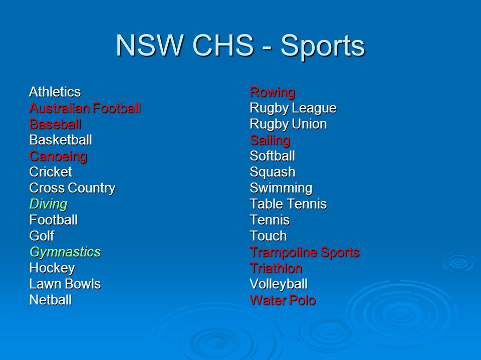NSW CHS - Sports Athletics Australian Football Baseball Basketball