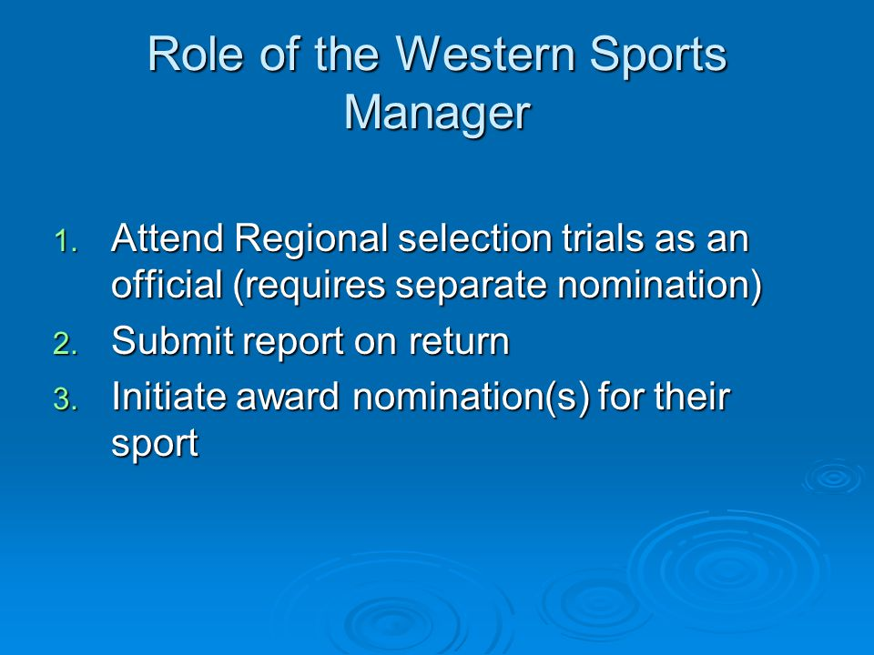 Role of the Western Sports Manager