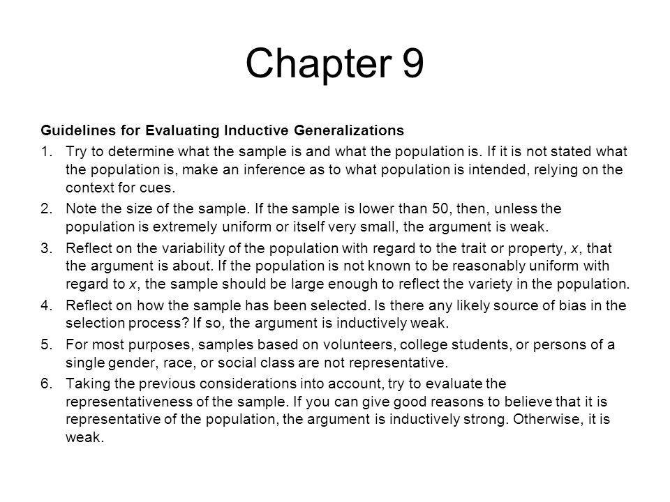 Chapter 9 Guidelines for Evaluating Inductive Generalizations