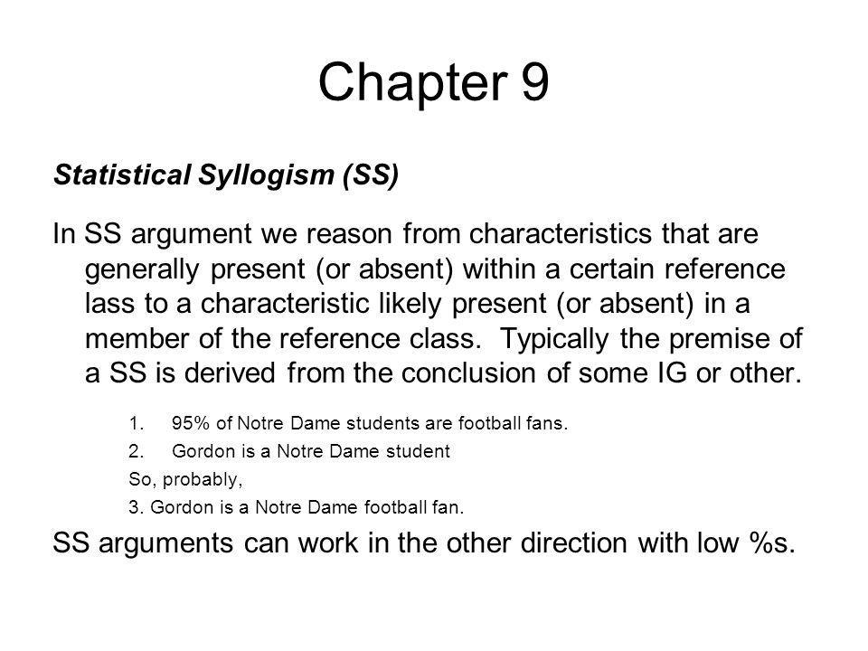 Chapter 9 Statistical Syllogism (SS)